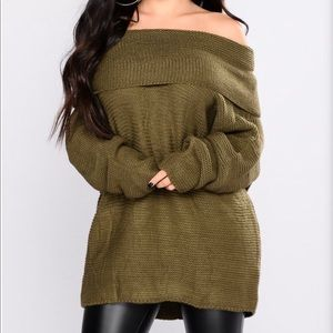 Sweaters - Oversized Sweater Olive color
